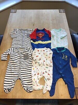 Gorgeous bundle of baby boys sleepsuits babygrows Up to 1 month.