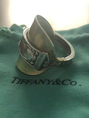 TIFFANY & CO Sterling 1916 San Lorenzo Antique Adjustable Spoon Ring  Sz 10.5