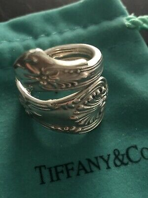 TIFFANY & CO Sterling Silv.Handcrafted Antique Adjustable Spoon Ring  Sz 6.5