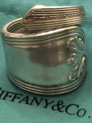 TIFFANY & CO Sterling 1895 Colonial Antique Adjustable Spoon Ring  Sz 8.75