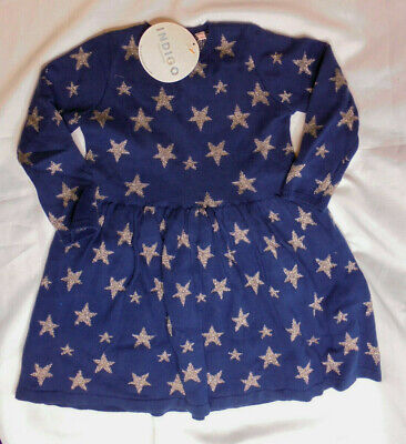 M&S Indigo Girls Sparkly Star Knitted Dress Navy Age 2-3 Years BNWT       5/8
