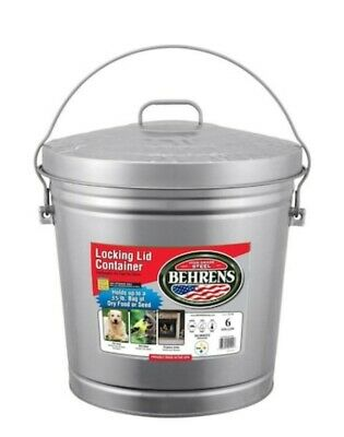 Behrens 6-Gallon Galvanized Steel Trash Can with Lid Pet Food Ashes Ashtray