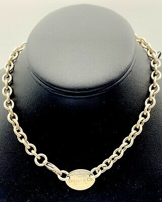 Tiffany & Co. Sterling Silver Please Return to Tiffany Oval Tag Choker Necklace