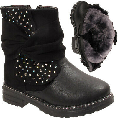 Girls Kids Infant Ruched Bow Fashion Diamante Studded Fur Lined Snow Ankle Boots