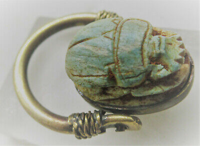 Beautiful Ancient Egyptian Glazed Faience Scarab In Gold Gilt Swivel Ring