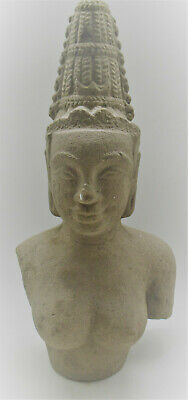 Beautiful Ancient Cambodian Stone Carved Buddha Statue Fragment