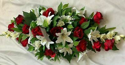 Christmas Artificial Silk Funeral Flower Coffin Spray Memorial Tribute Red Rose