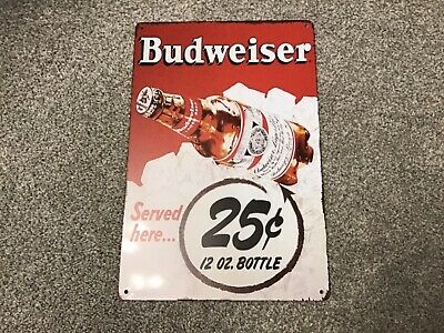 VINTAGE RETRO STYLE METAL TIN SIGN POSTER BUDWEISER RARE CAVE WALL HOME