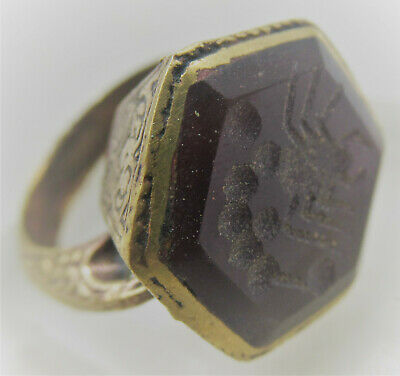 Circa 1400-1500Ad Medieval Islamic Ottomans Gold Gilded Ring With Carnelian Ston