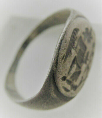 Very Fine Ancient Roman Silver Military Ring With Depiction Of Gladiator
