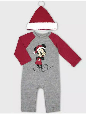 DISNEY Really Cute MICKEY MOUSE Striped Fleecy Romper Suit NWT