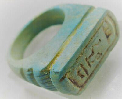 Beautiful Antique Egyptian Glazed Faience Finger Ring With Cartouche