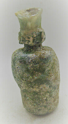 Circa 200-300Ad Ancient Roman Glass Poison Bottle With Iridescent Patina