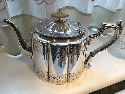 Superb Antique Victorian James Dixon Silver Plated Chased Tea Pot