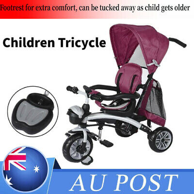 4 in 1Baby Kids Reverse Toddler Tricycle Bike Trike Ride-On Toy Stroller Prams