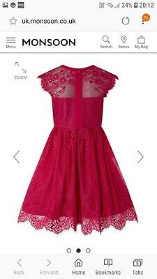 Girls red Storm by Monsoon Christmas Party Bridesmaid Dress age 11