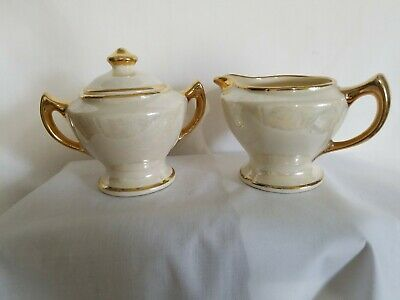 Pearlized Creamer And Sugar Set Cream Pearlized With Gold Trim