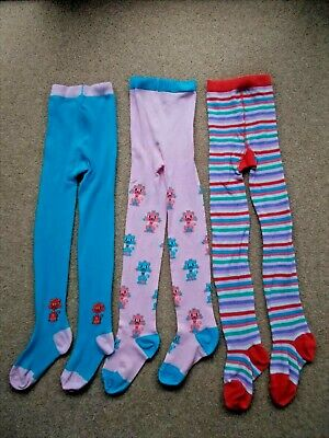 NEXT 3 Pairs Girls Pink Turquoise and Striped Tights 9 - 10 yrs