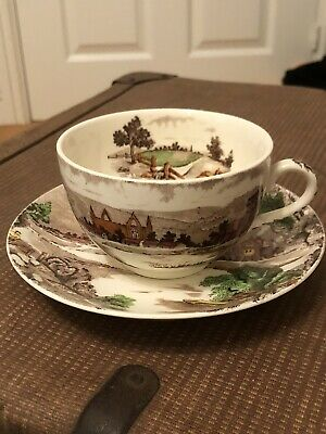 Oriental Hand Painted Decorated Tea Cup And Saucer