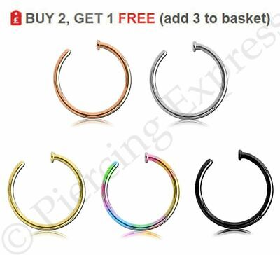 Nose Rings Open Hoop Fake Nose Lip Stud Piercing Surgical Steel Thin Small 20G
