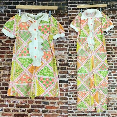 2 Vintage 60's Pajamas Rompers Carter's Size 12 Kid's Girls Outfit Costume 70's