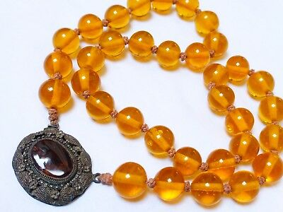 CHINESE Antique / Vintage / Old PEKING GLASS BEADS NECKLACE Pendant