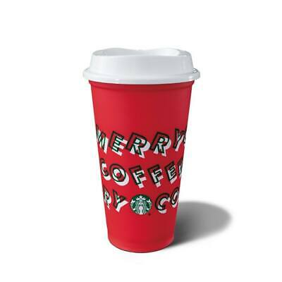 New Merry Coffee Starbucks Holiday Christmas 2019 Red Reusable Cup w/ Lid !!!!