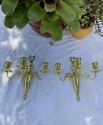 Vintage Pair Solid Brass Japanese Wall Sconces Candle Holders Mid Century Gold