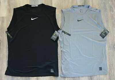 NWT NIKE Mens Pro Compression Sleeveless Tank Top Black Gray L XL