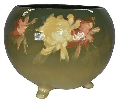 Roseville Pottery Rozane Light Yellow And Red Floral Three Footed Jardiniere