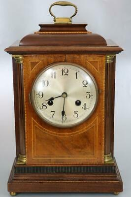 BEAUTIFUL EDWARDIAN BRACKET or MANTEL CLOCK fine inlaid mahogany case WORKING