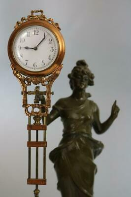 GENUINE ANTIQUE 8 DAY SWINGER MYSTERY CLOCK - JUNGHANS with DIANA STATUE working