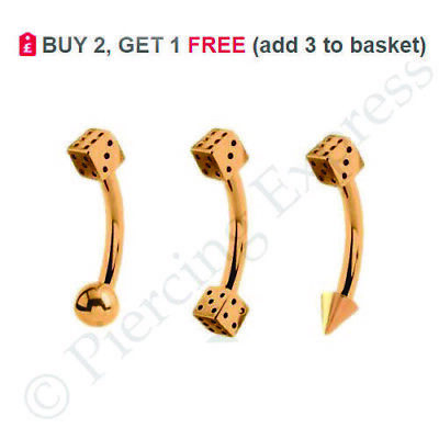 ROSE GOLD Curved Barbell Eyebrow Bar Piercing Banana Ring 6-12mm Steel with DICE