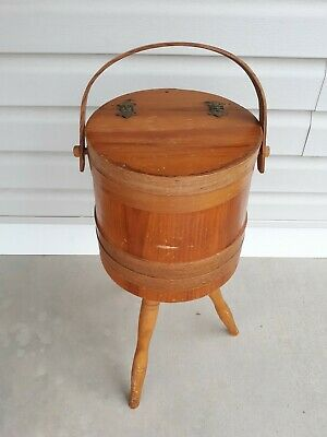 Vintage Wooden 3 Legged Barrel Sewing Basket Cheese Box Shaker Style