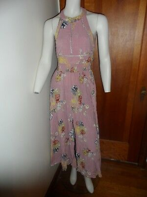 "PRIVATE BRAND  Pink Floral Halter Maxi Dress Regular S (?) Bust - 34"" NWD  #397"