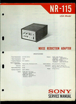 Sony NR-115 Noise Reduction Adapter Unit Original Factory Service Manual Guide