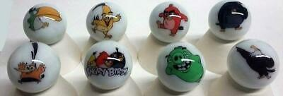 """A Set of 8 Angry Birds Collectible Glass 1"""" Logo Marbles"""