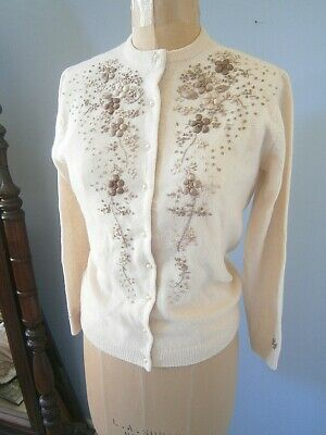 Vintage 50s Ivory Cream Wool & Angora Floral Embroidered Cardigan Sweater! 1950s
