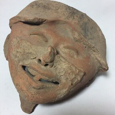 Vera Cruz Sonriente Terra Cotta Face Head Statue Fragment Pre-Columbian Art