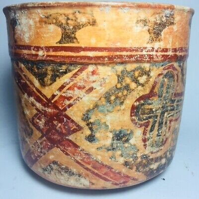 Mayan Ulua Valley Polychrome Cylinder Funerary Vessel Terra Cotta Pre-Columbian