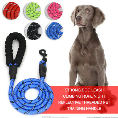 5FT Strong Dog Leash Rope Reflective Pet Training Lead with Foam Padded Handle