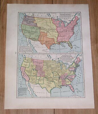 1936 Vintage Historical Map Of Acquisition Territory Development United States