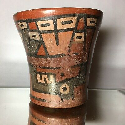 Nazca Pre-Columbian Concave Cylindrical Terra Cotta Polychrome Funerary Vessel