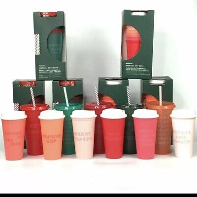 (2) Set Of NEW Starbucks 2019 Holiday Christmas Reusable Cold Cups & Hot Cups!