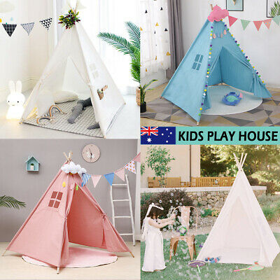 Large Canvas Kids Teepee Play Tent Childs Wigwam Wooden Indoor Outdoor Playhouse