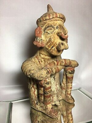 Nayarit Polychrome Terra Cotta Statue Figure Pre-Columbian Artifact Sitting
