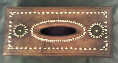 Vintage Indonesian Wood Inlaid w/ Mother of Pearl Tissue/Collection Box