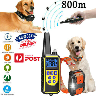 800M Rechargeable Dog Training Collar Remote Control Auto Pet Trainer Waterproof