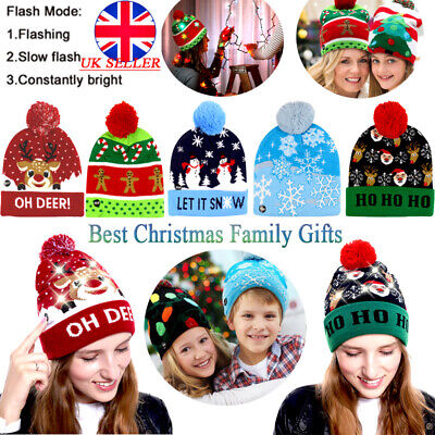 Christmas Party LED Hat Beanie Knit Light Up Xmas Cap for Women Men Child Gifts