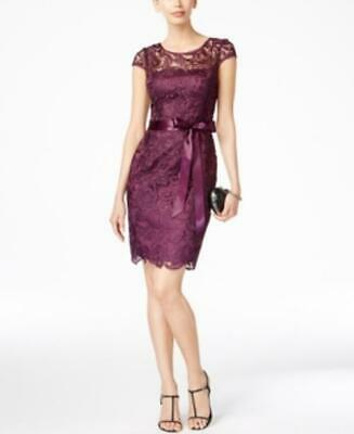 MSRP $189 Adrianna Papell Lace Cap-Sleeve Illusion Sheath Dress, Size 12